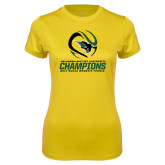 Ladies Syntrel Performance Gold Tee-NCCAA Womens Tennis Champions 2017