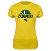 Ladies Syntrel Performance Gold Tee-NCCAA Womens Tennis Champions 2017 - Half Ball