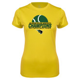 Ladies Syntrel Performance Gold Tee-NCCAA Mens Tennis Champions 2017 - Half Ball
