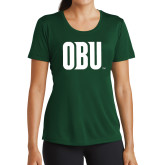 Ladies Performance Dark Green Tee-OBU Wordmark