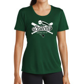 Ladies Performance Dark Green Tee-Softball Crossed Bats