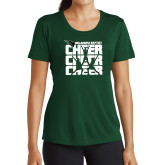 Ladies Performance Dark Green Tee-Cheer Stacked