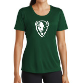 Ladies Performance Dark Green Tee-Charging Bison White