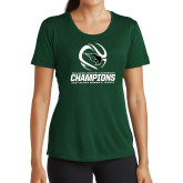 Ladies Performance Dark Green Tee-NCCAA Womens Tennis Champions 2017