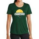 Ladies Performance Dark Green Tee-NCCAA Womens Tennis Champions 2017 - Half Ball