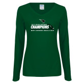 Ladies Dark Green Long Sleeve V Neck T Shirt-NCCAA National Champions Mens Outdoor Track and Field
