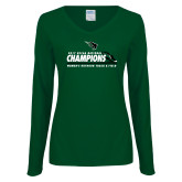 Ladies Dark Green Long Sleeve V Neck T Shirt-NCCAA National Champions Womens Outdoor Track and Field