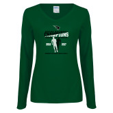 Ladies Dark Green Long Sleeve V Neck T Shirt-NCCAA National Champions Womens Outdoor Track and Field back to back