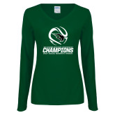 Ladies Dark Green Long Sleeve V Neck T Shirt-NCCAA Womens Tennis Champions 2017