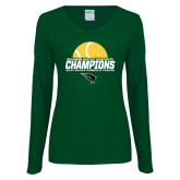 Ladies Dark Green Long Sleeve V Neck T Shirt-NCCAA Womens Tennis Champions 2017 - Half Ball
