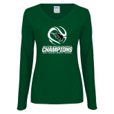 Ladies Dark Green Long Sleeve V Neck T Shirt-NCCAA Mens Tennis Champions 2017