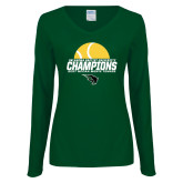 Ladies Dark Green Long Sleeve V Neck T Shirt-NCCAA Mens Tennis Champions 2017 - Half Ball