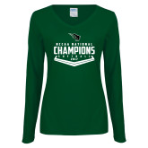Ladies Dark Green Long Sleeve V Neck T Shirt-2017 NCCAA National Softball Champions
