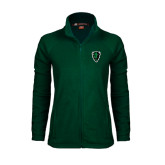Ladies Fleece Full Zip Dark Green Jacket-Charging Bison