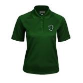 Ladies Dark Green Textured Saddle Shoulder Polo-Charging Bison