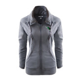 Ladies Sport Wick Stretch Full Zip Charcoal Jacket-Power Bison