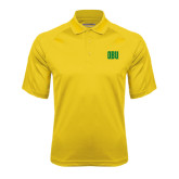 Gold Textured Saddle Shoulder Polo-OBU Wordmark