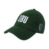 Dark Green Twill Unstructured Low Profile Hat-OBU Wordmark