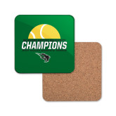 Hardboard Coaster w/Cork Backing-NCCAA Womens Tennis Champions 2017 - Half Ball