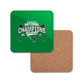 Hardboard Coaster w/Cork Backing-2017 NCCAA National Champions - Baseball Crossed Bats