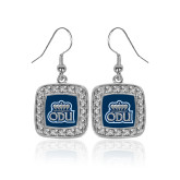 Crystal Studded Square Pendant Silver Dangle Earrings-ODU w Crown
