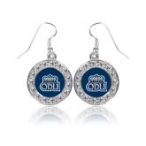Crystal Studded Round Pendant Silver Dangle Earrings-ODU w Crown