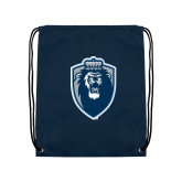 Navy Drawstring Backpack-Lion Shield