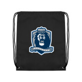 Black Drawstring Backpack-Monarchs Shield
