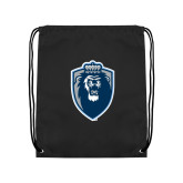 Black Drawstring Backpack-Lion Shield