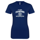 Next Level Ladies SoftStyle Junior Fitted Navy Tee-Conference USA Womens Golf Champions
