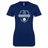 Next Level Ladies SoftStyle Junior Fitted Navy Tee-2017 Conference USA Mens Soccer