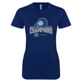 Next Level Ladies SoftStyle Junior Fitted Navy Tee-2018 CUSA Mens Tennis Champions