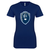 Next Level Ladies SoftStyle Junior Fitted Navy Tee-Lion Shield
