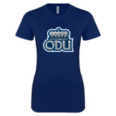 Next Level Ladies SoftStyle Junior Fitted Navy Tee-ODU w Crown
