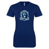 Next Level Ladies SoftStyle Junior Fitted Navy Tee-Monarchs Shield