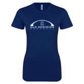 Next Level Ladies SoftStyle Junior Fitted Navy Tee-Football Inside