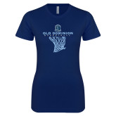 Next Level Ladies SoftStyle Junior Fitted Navy Tee-Basketball Net