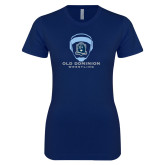 Next Level Ladies SoftStyle Junior Fitted Navy Tee-Wrestling Helmet