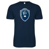 Next Level SoftStyle Navy T Shirt-Lion Shield