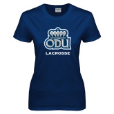 Ladies Navy T Shirt-Lacrosse