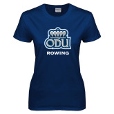 Ladies Navy T Shirt-Rowing