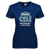 Ladies Navy T Shirt-Swimming and Diving