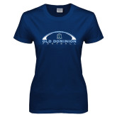 Ladies Navy T Shirt-Football Inside