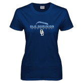 Ladies Navy T Shirt-Baseball Threads