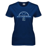Ladies Navy T Shirt-Ball on Top