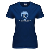 Ladies Navy T Shirt-Wrestling Helmet
