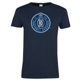 Ladies Navy T Shirt-10 Years Football