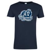 Ladies Navy T Shirt-Lady Monarchs - Lion