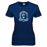 Ladies Navy T Shirt-Monarchs Shield