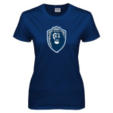 Ladies Navy T Shirt-Lion Shield